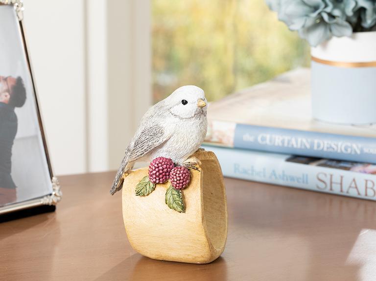 Grape Loving Bird Polyresin Biblo 7.8*7.2*13cm Gri