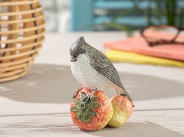 Berry Loving Bird Polyresin Biblo 9.5*7*10.5cm Krem