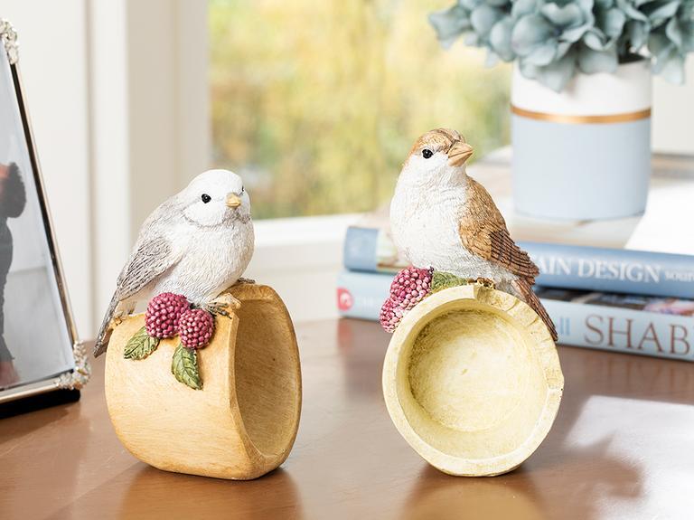 Bird Love Polyresin Biblo 7.8*7.2*13cm Krem