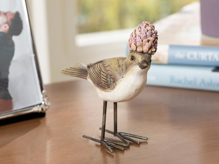 Funny Bird Polyresin Biblo 11*4.2*11cm Gri-lila