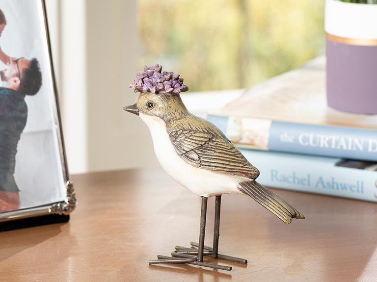 Flower Bird Polyresin Biblo 11*4.2*11cm Gri-lila