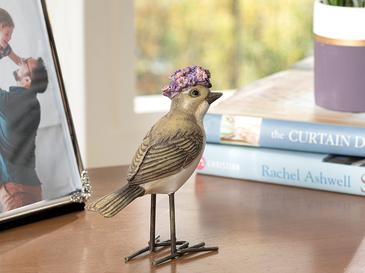 Birds Style Polyresin Biblo 11*4.2*11cm Gri-lila