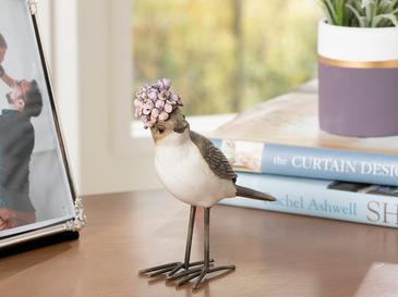 Happy Bird Polyresin Biblo 11*4.2*11cm Gri-lila