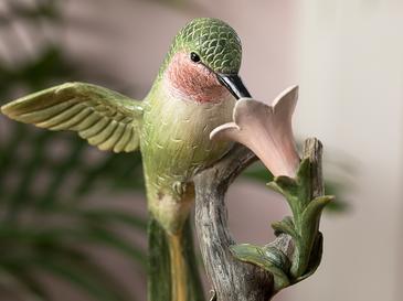 Hibiscus And Hummingbird Polyresin Biblo 15.3*11.5*23.5cm Yeşil