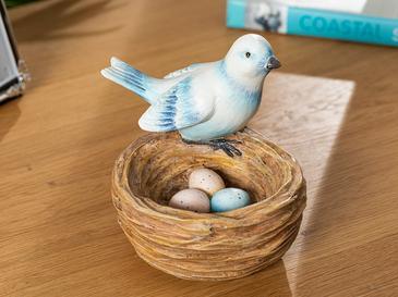 Bird's Nest Polyresin Biblo 11*10*10.8cm Mavi