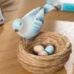 Happy Bird Polyresin Biblo 11*10*10.8cm Mavi