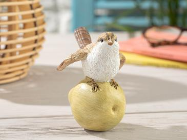 Apple Loving Bird Polyresin Biblo 9.5*7*10.5cm Sarı