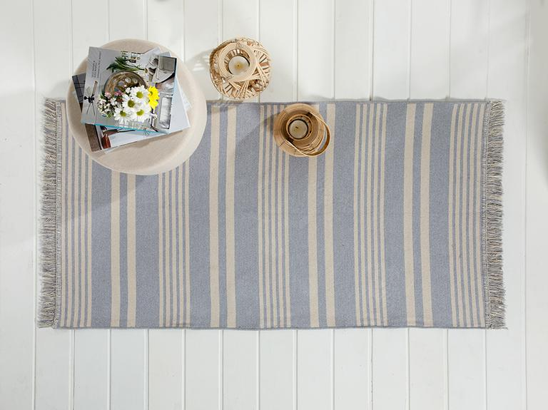 Modern Stripe Pamuklu Kilim 80x150 Cm Gri