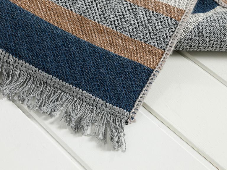 Timeless Stripe Dokuma Çift Taraflı Kilim 80x150 Cm Kahve-lacıvert