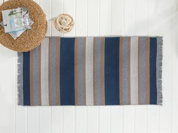 Timeless Stripe Dokuma Çift Taraflı Kilim 120x180 Cm Kahve-lacıvert
