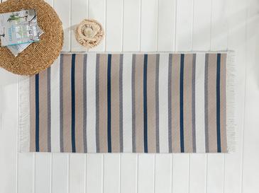 Timeless Stripe Dokuma Çift Taraflı Kilim 120x180 Cm Gri - Lacivert