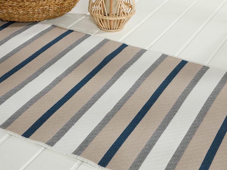 Timeless Stripe Dokuma Çift Taraflı Kilim 80x150 Cm Gri - Lacivert