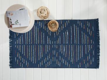 Retro Stripe Dokuma Çift Taraflı Kilim 80x150 Cm Beyaz - Lacivert