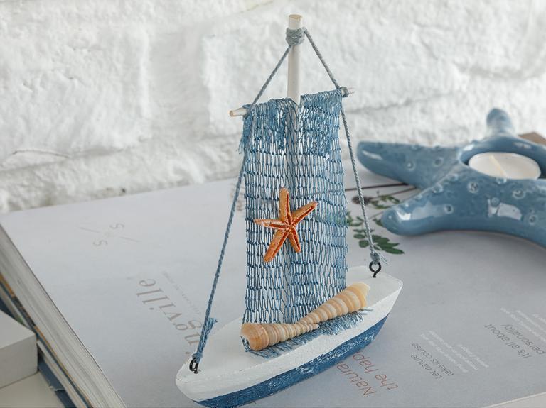 Sailing Boat Mdf Dekoratif Obje 12,5x3x15 Cm Beyaz
