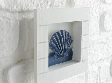 Undersea Mdf Duvar Aksesuarı 16x16x3 Cm Beyaz - Mavi