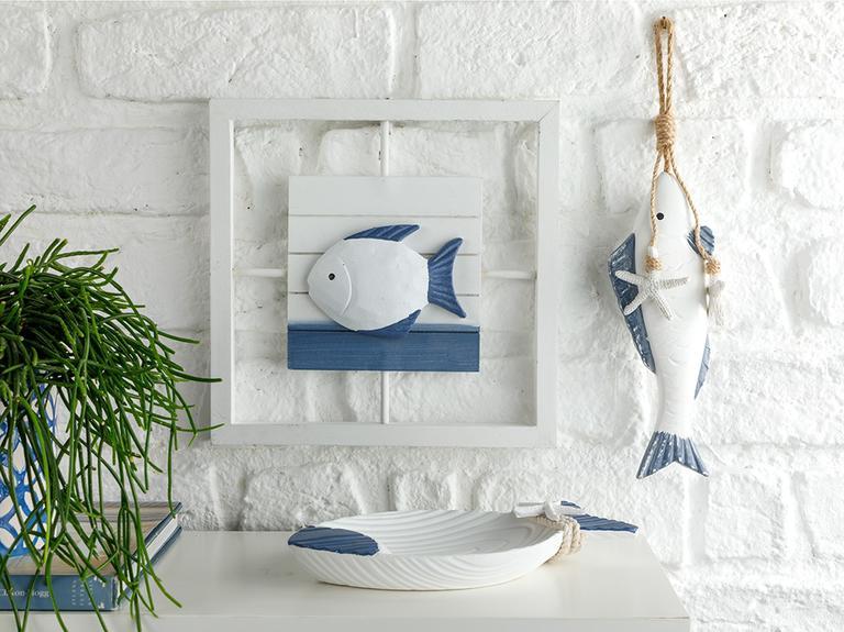 Sea Shore Mdf Dekoratif Tabak 24x15x4 Cm Beyaz - Mavi