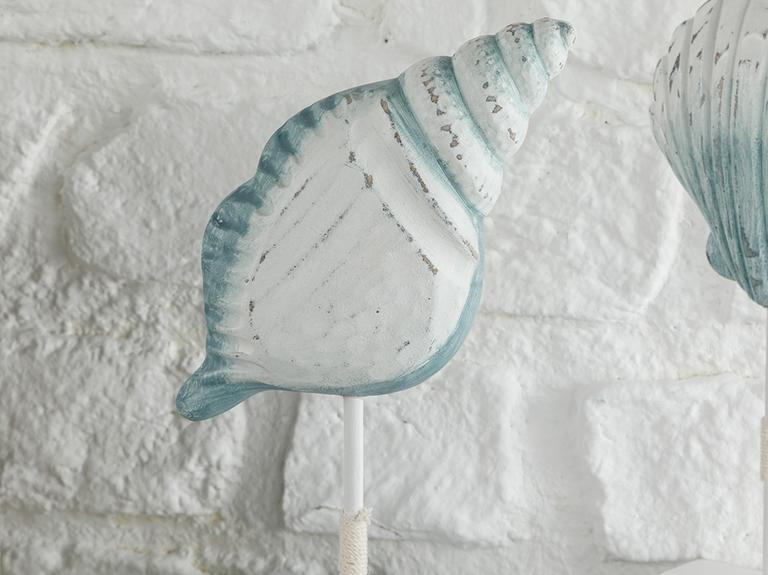 Scallop Mdf Dekoratif Obje 12,5x4,5x22 Cm Beyaz - Mavi