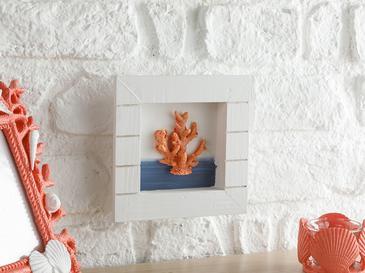 Undersea Animals Mdf Duvar Aksesuarı 16x16x3 Cm Beyaz - Turuncu