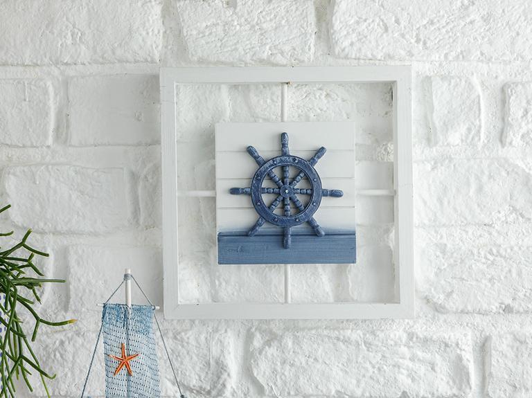 Chelsea Wood Duvar Aksesuarı 25x25x2 Cm Beyaz - Mavi