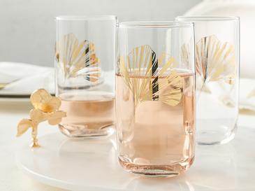 Gingko Biloba Cam 3'lü Meşrubat Bardağı 365 Ml Gold