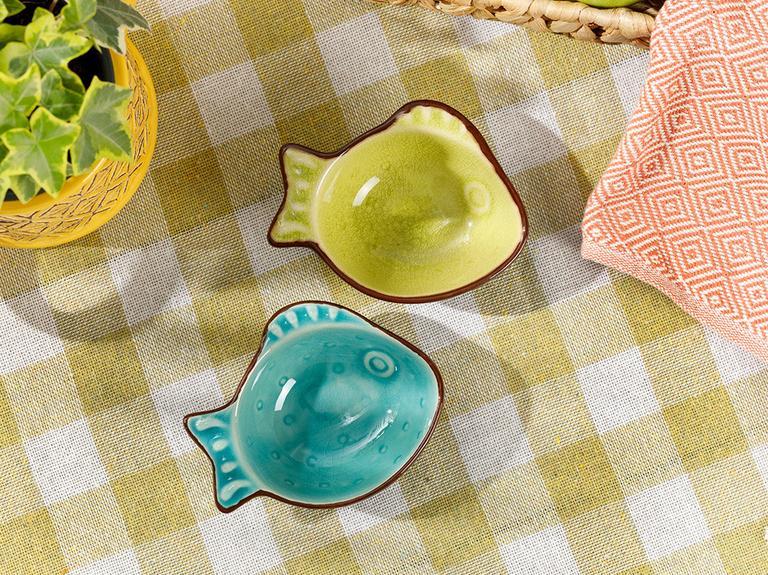 Little Fish Stoneware Çerezlik 10 Cm Sarı