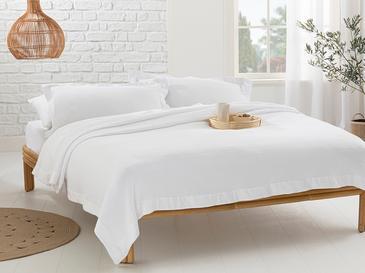 Muslin Saten Kenar Bantlı Tek Kişilik Yatak Örtüsü Takımı 180x240 Cm Beyaz
