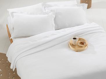 Muslin Saten Kenar Bantlı Çift Kişilik Yatak Örtüsü Takımı 240x260 Cm Beyaz
