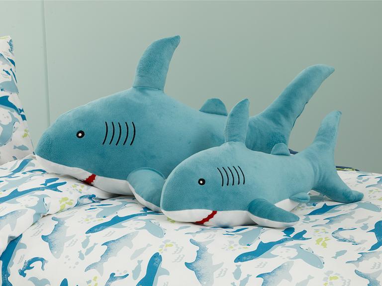 Big Shark Polyester Dekoratif Yastık 36x71 Mavi