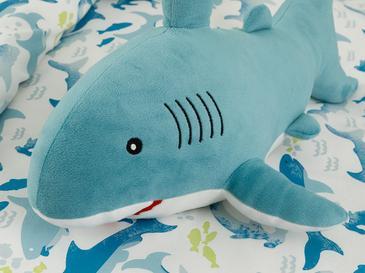 Mini Shark Polyester Dekoratif Yastık 28x48 Cm Mavi