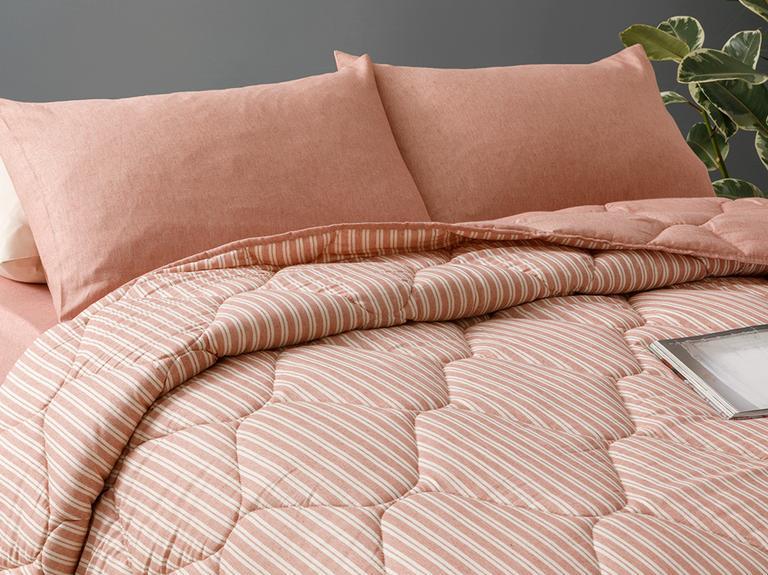 Comfy Stripe İpliği Boyalı Çift Kişilik Uyku Seti 200x220 Cm Tarçın