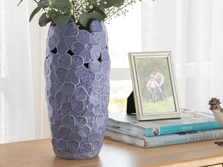 Hortensia Porselen Vazo 14*14*29.2 Cm Lila