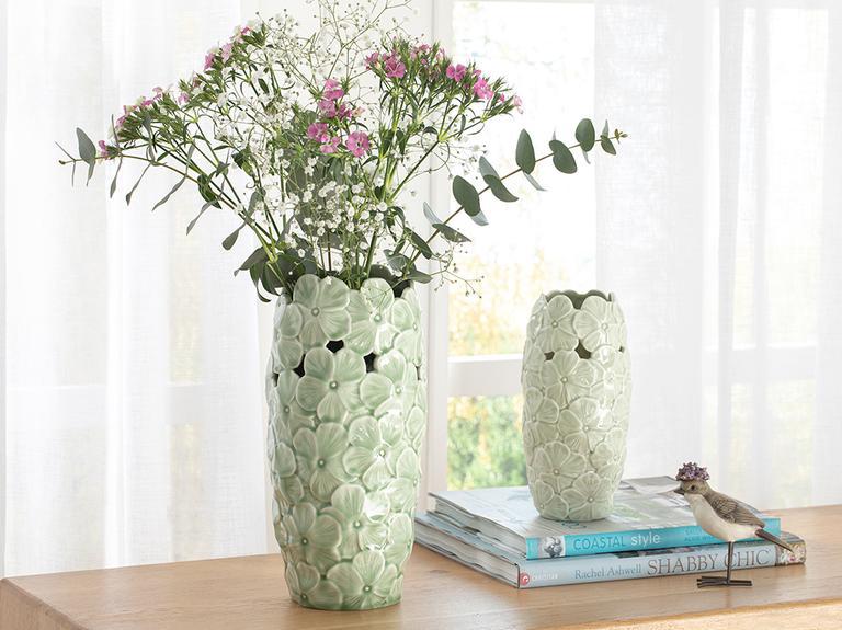 Hortensia Porselen Vazo 14*14*29.2 Cm Yeşil