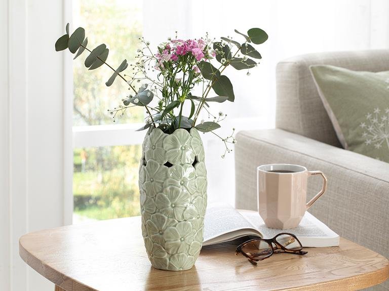 Hortensia Porselen Vazo 10.1*10.1*21.2 Cm Yeşil