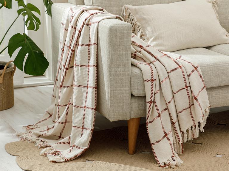 Elegant Lines Pamuk Polyester Koltuk Şalı 130x170 Cm Kiremit