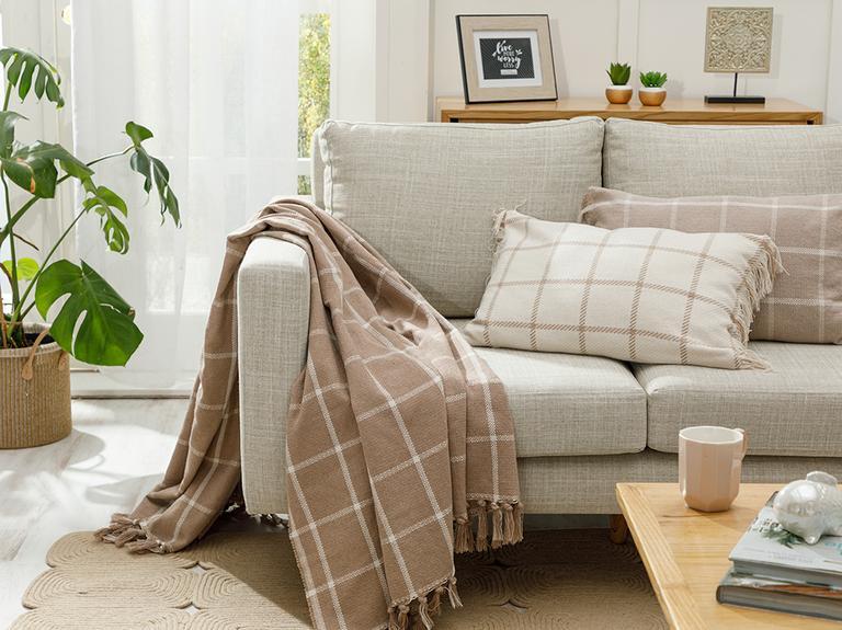 Modern Lines Pamuk Polyester Koltuk Şalı 130x170 Cm Bej