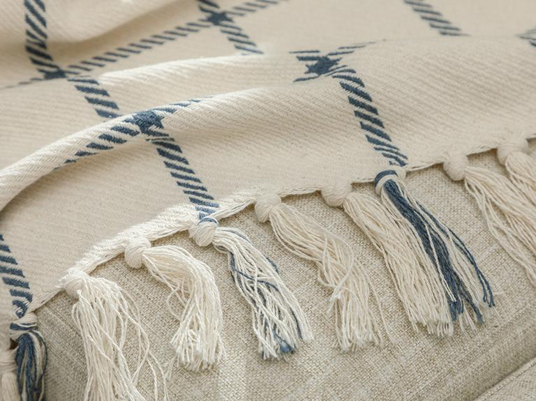 Elegant Lines Pamuk Polyester Koltuk Şalı 130x170 Cm İndigo