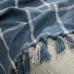 Modern Lines Pamuk Polyester Koltuk Şalı 130x170 Cm İndigo