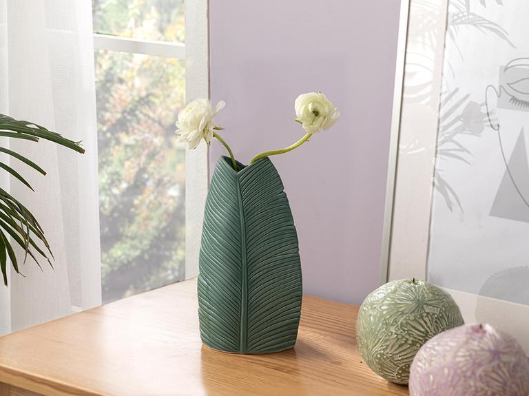 Pure Leaves Vazo 11x7x20 Cm Yeşil