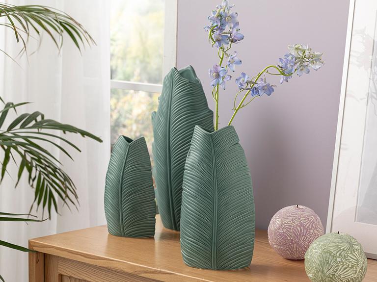 Pure Leaves Vazo 13.5x8.5x25.2 Cm Yeşil