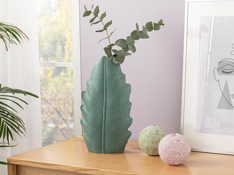 Green Leaf Vazo 11.5x8x33 Cm Yeşil