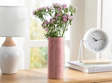Flowers Porselen Vazo 8,5x8,5x21,7 Cm Pembe
