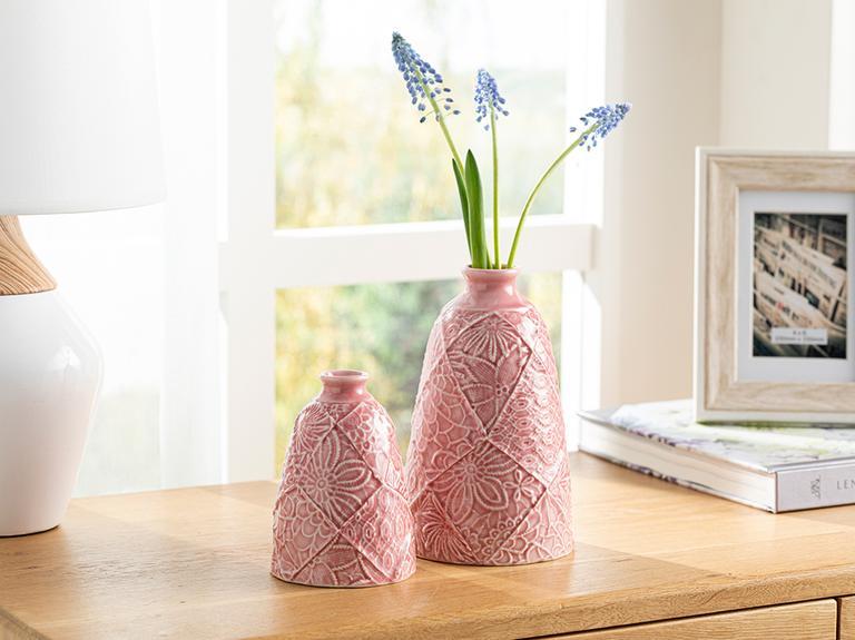 Floral Porselen Vazo 11,1x11,1x17,9 Cm Pembe
