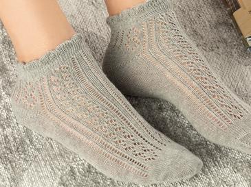 Amber Pamuk Kadın Çorap Gri