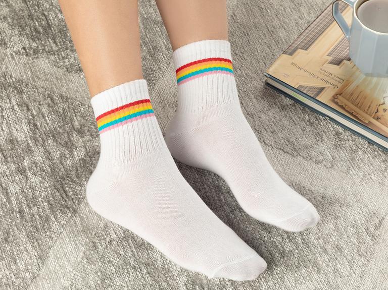 Colourful Joy Pamuk Kadın Çorap Beyaz