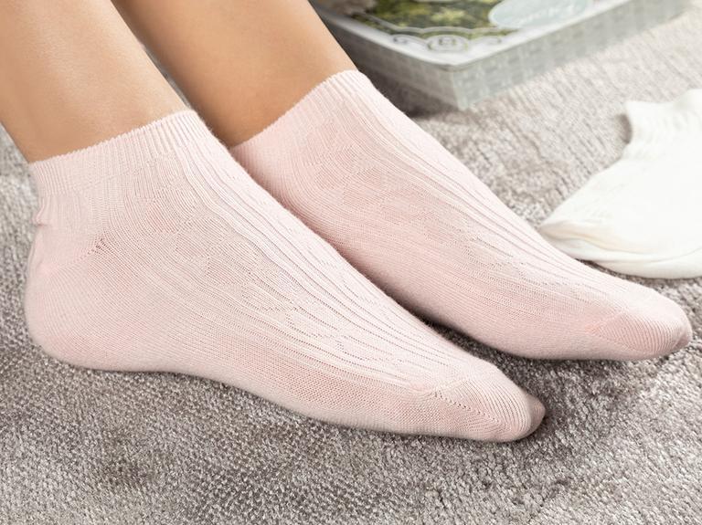Sophia Pamuk Kadın 2'li Kısa Konçlu Çorap Pembe-beyaz