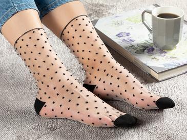 Black Dots Polyamid Kadın Ten Çorap Siyah