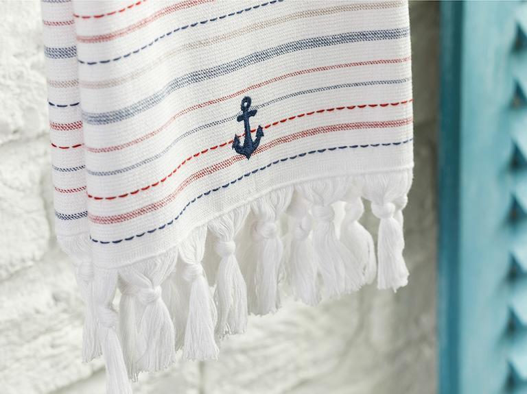 Stripe Anchor Pamuk Kurulama Bezi 40x60 Cm Beyaz