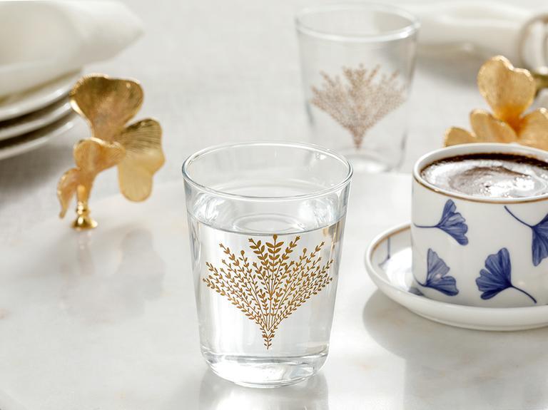 Weensy Cam 6'lı Kahve Yanı Su Bardağı 120 Ml Gold