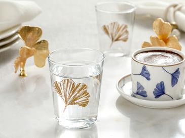 Gingko Biloba Cam 6'lı Kahve Yanı Su Bardağı 120 Ml Gold