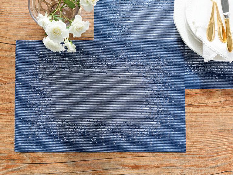 Pollo Polyester 4'lü Amerikan Servis 30x45 Cm Gri - İndigo